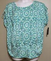 Alyx Woman 2x Top Shirt Womens Plus Green Floral