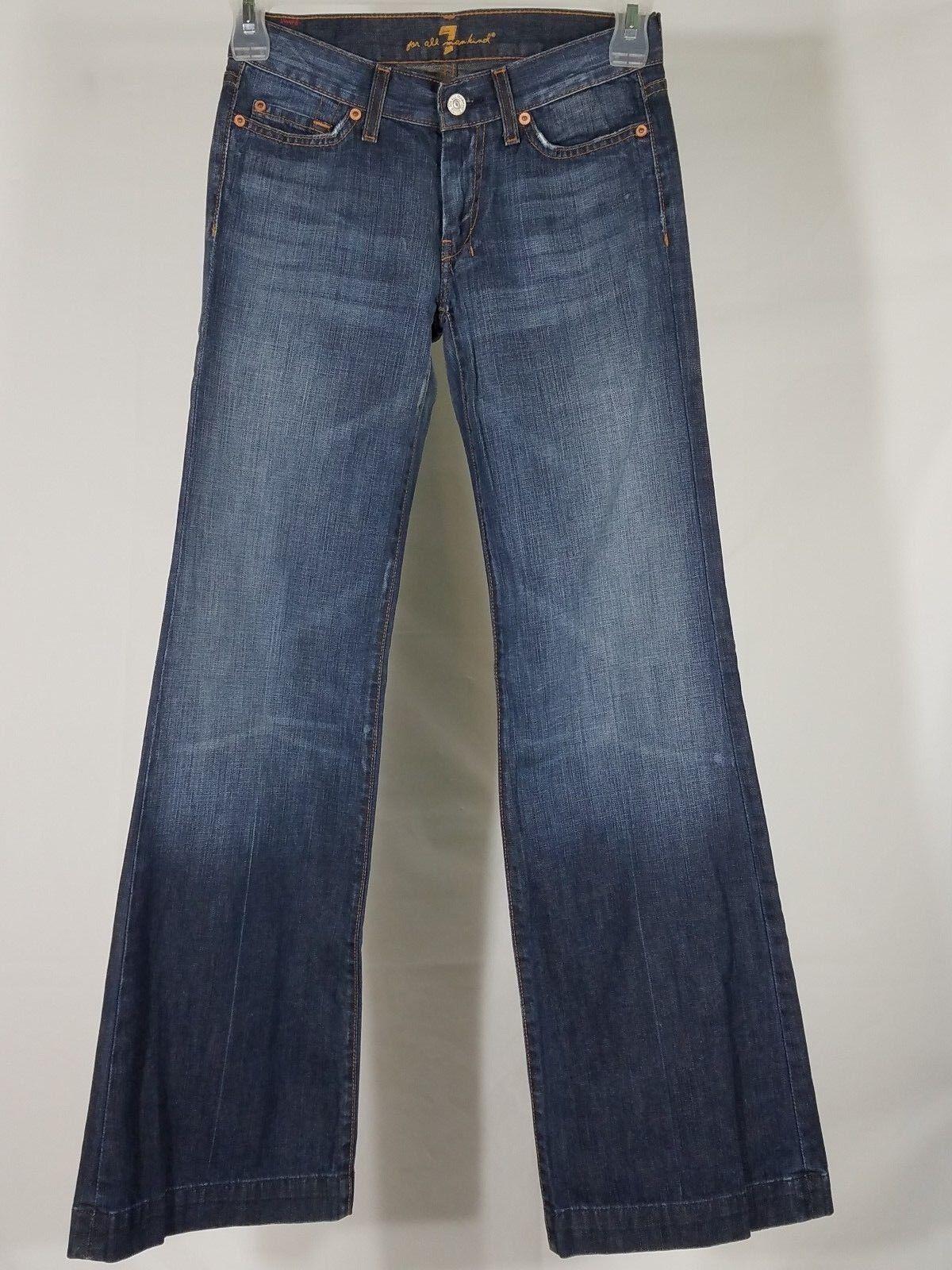7 For All Mankind dark wash Dojo Flare denim bluee jeans ladies size 27 28W x 33L