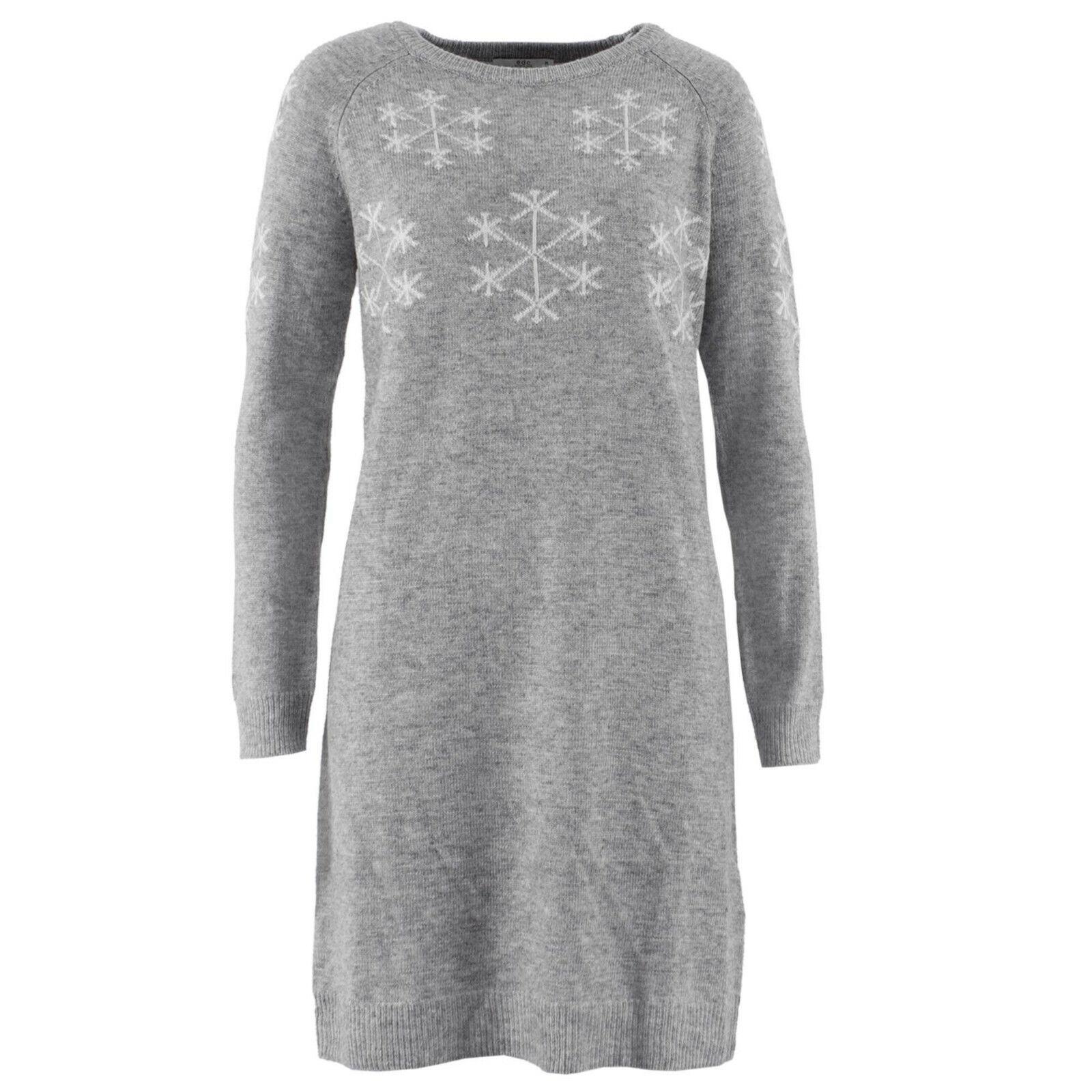 ESPRIT Damen Strickkleid 118CC1E001 Grau meliert Schneeflocke   M (38)   Kleid