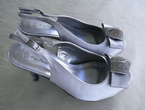 Anne-Michelle-Pewter-Satin-Sling-Back-Vintage-Fifties-Party-Shoes-size-5
