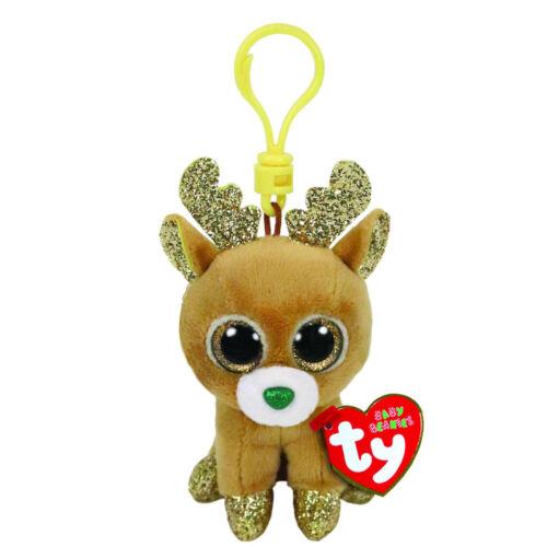 "Ty Beanie Boos 4/"" Christmas Glitzy the Reindeer Plush Backpack Keychain Clip"