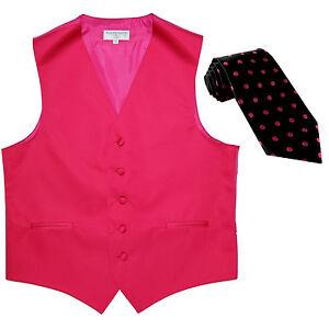 New Men's Formal Vest Tuxedo Waistcoat hot pink_black hot pink dots Necktie prom