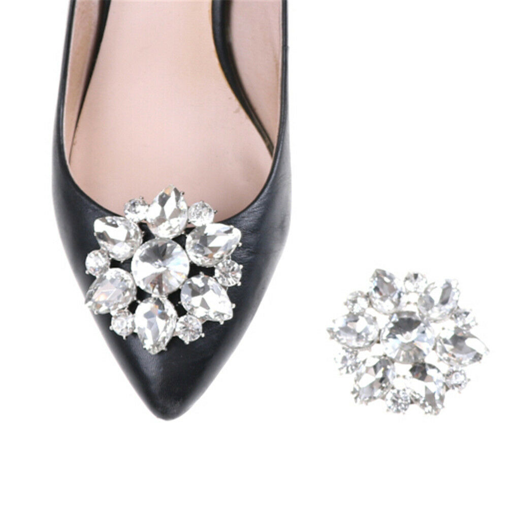 1PC Crystal Rhinestones Shoe Clips Women Bridal Prom Shoes Buckle Decor Y/ WYLPT