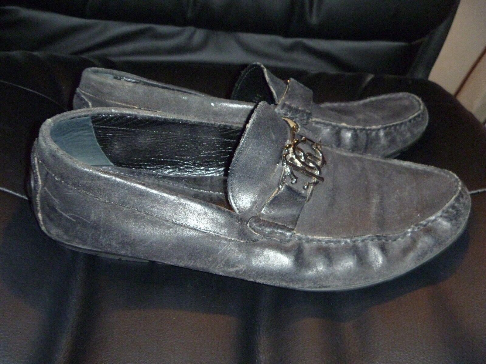 ROBERTO CAVALLI nero Leather oro Metal Crested Logo scarpe 43 1 2 9 1 2 Loafers