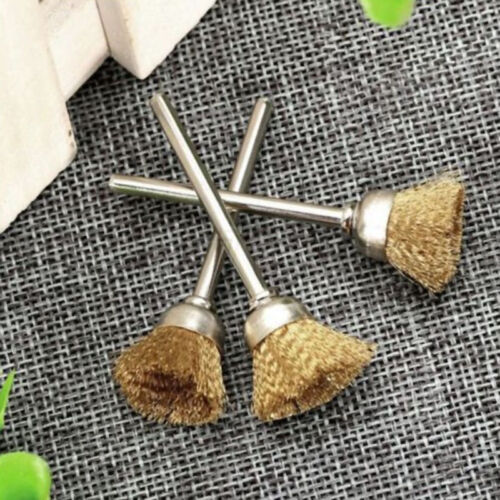 3mm Shank Polishing Brass Wire Wheel Cup Brushes Rotary Cleaning Tool 5pcs