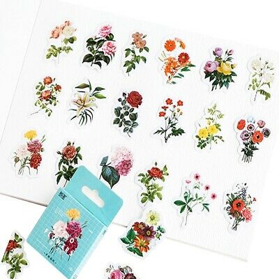 Peel Off Sticker Set of 46 Pretty Vintage Flowers Botanical Mini Box Stickers