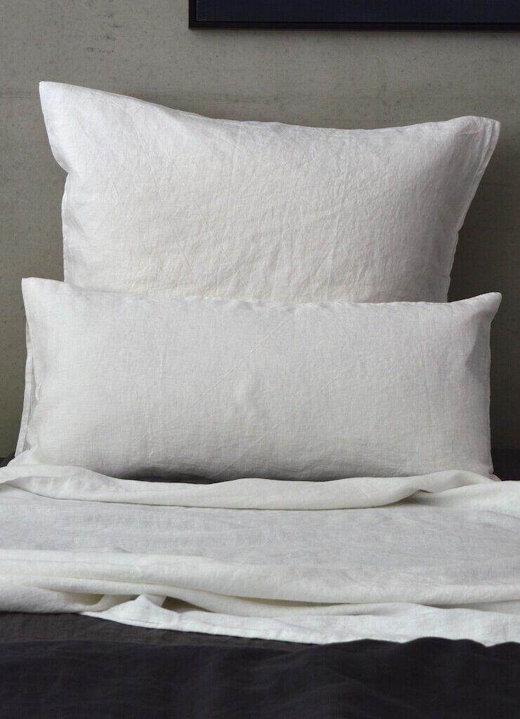 Leinen Bettwäsche Garnitur, Weiß,135x 200 cm,40x 60 cm,40x 80 cm,80x 80 cm