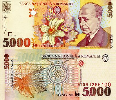 ROMANIA 5000 Lei Banknote World Paper Money UNC Currency Pick p107 1998 Bill