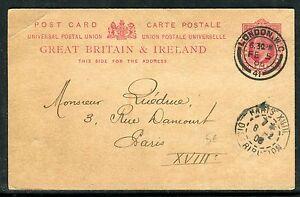 Royaume - Uni - Entier Postal De Londres Pour Paris En 1906 D 112 éLéGant En Odeur