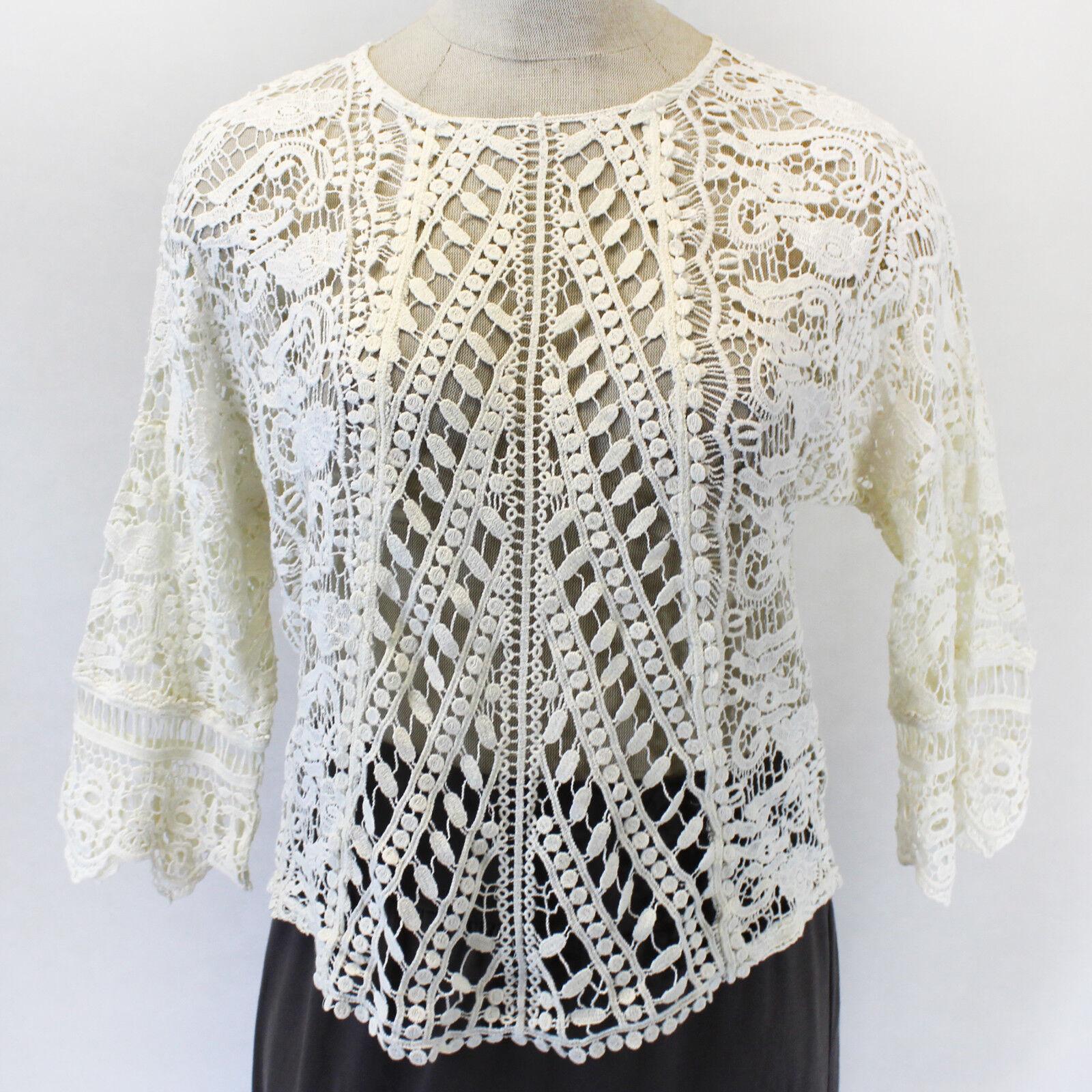 NEW XCVI Lagenlook Open Lace Knit Ivory 100% Cotton Asymmetric Blouse Top XL