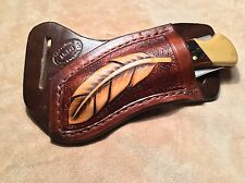Buck 110/112 Custom Leather Crossdraw Sheath w/feather (left hand)