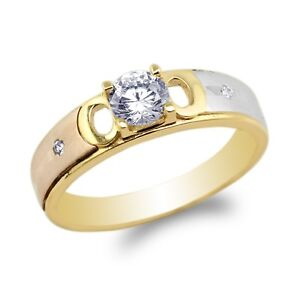 JamesJenny Mens 14K Yellow Gold Engagement Band Ring Size 7-12