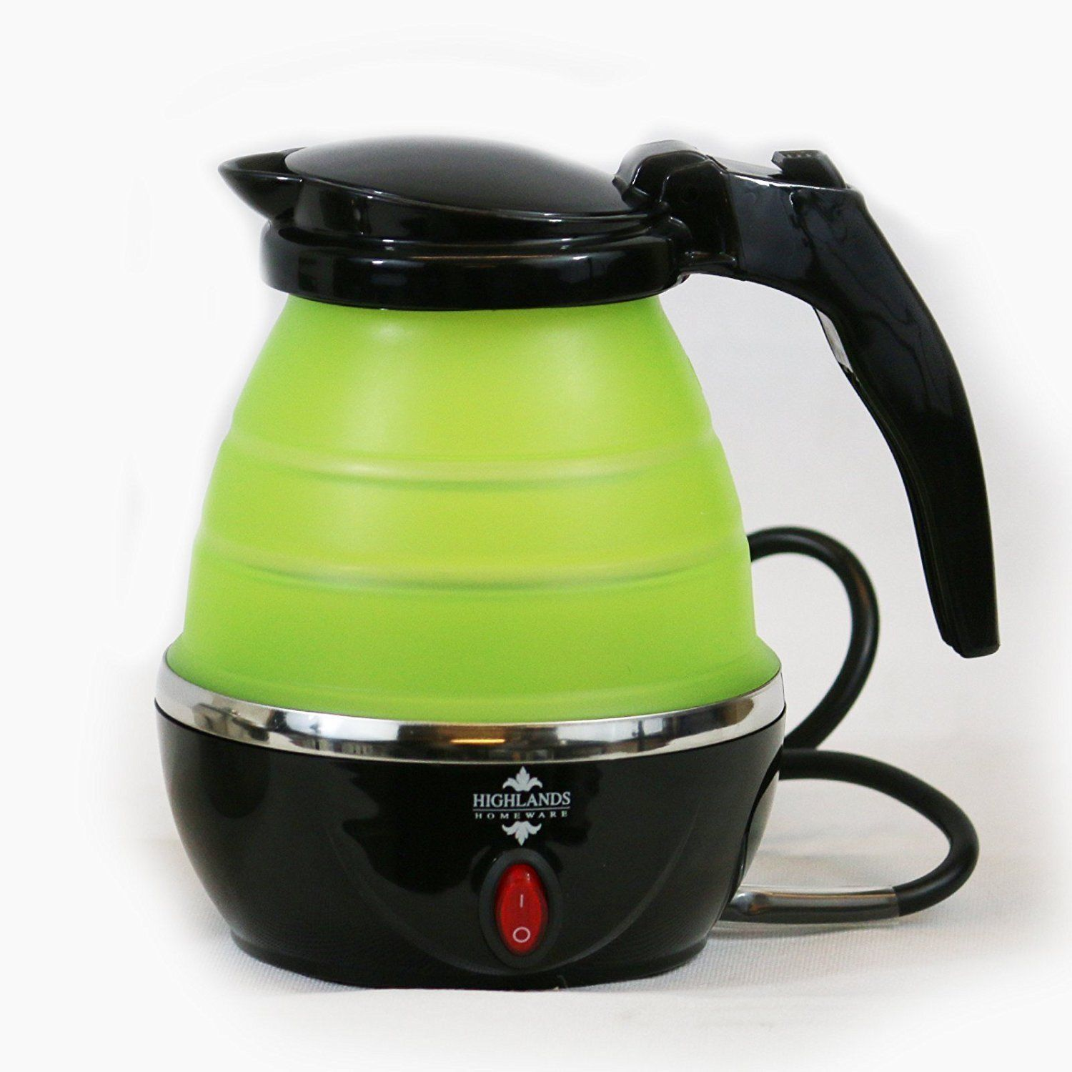 Green Kitchen Kettle: Small Travel Electric Foldable Kettle Caravan Camping