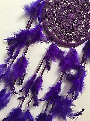 BEAUTIFUL  PURPLE CROCHET DREAM CATCHER 16 CM WEB BOHO 57 CM TOTAL LENGTH