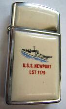 BRIQUET ZIPPO ORIGINAL USA US NAVY USS NEWPORT abimé !ORIGINAL VINTAGE COLLECTOR