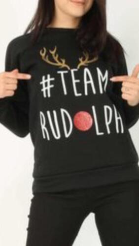 Ladies Christmas Novelty sweatshirts Tops Team Rudolph Prosecco Ho Ho Jumper