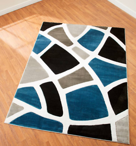 Details about Floor Rug Large Area Carpet for Living Room Dining Geometric  Blue Accent Runner