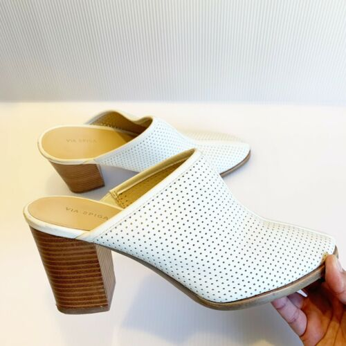 Via Spiga Block Heel Perforated Mules Size 8