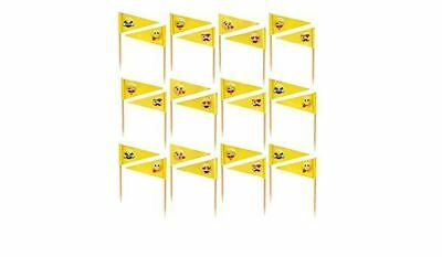 24 Smiley Face Cocktail Food Ice-cream Stick Pick Party Decor Birthday Kids Flag