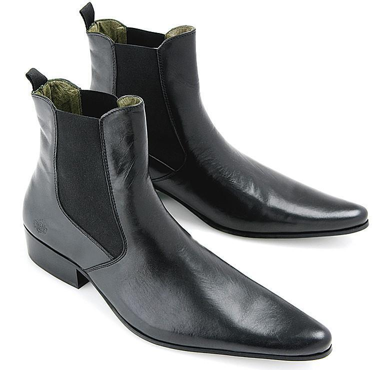Mens Revolver Black Chelsea Boots  60s 70s Mod by IKON - NEW
