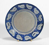 "rare Dedham Pottery antique chick pattern 6"" plate arts & crafts crackle blue"