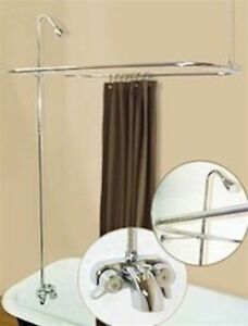 Shower Add On Kit Clawfoot Tub D Rod Rectangle Wall Mount Faucet