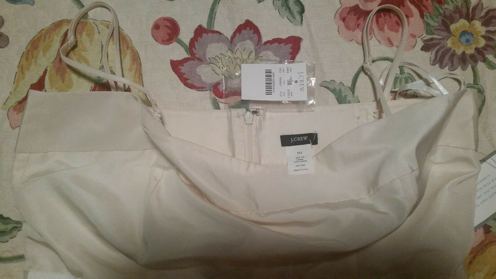 NWT J.Crew 12Tall Ivory Ivory Ivory Strap Optional Dress With Bow 408251