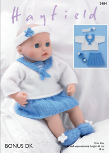 Zapatos Y Diadema! Pantalones Falda Patrón de bonificación DK – 2484 Muñecas del bebé Marinero Top