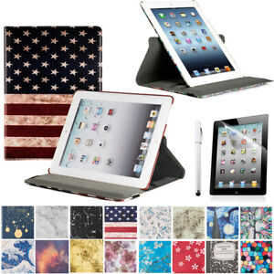 For iPad 2 3 4 Rotating Case Stand Smart Cover with Screen Protector & Stylus