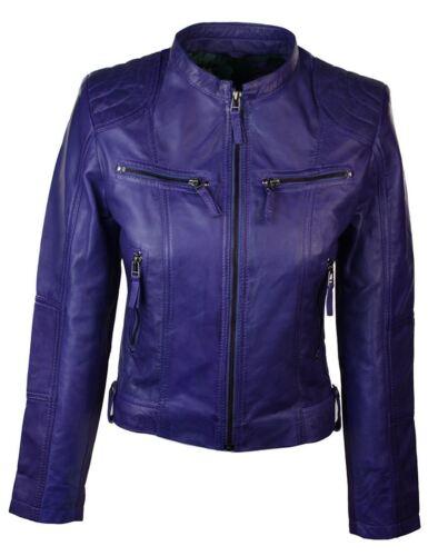 Retro Colla Ladies Purple Jacket Biker Slim Women Real Fit Leather Short Chinese qan061aZBw