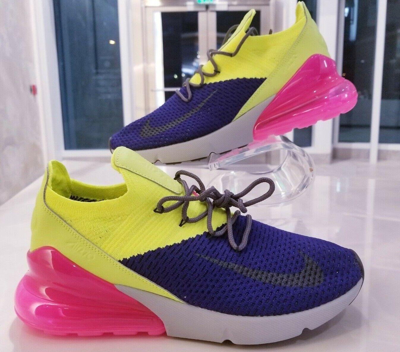 Nike Air Max 270 Flyknit Running shoes Volt Purple Pink Grey SZ ( AO1023-501 )