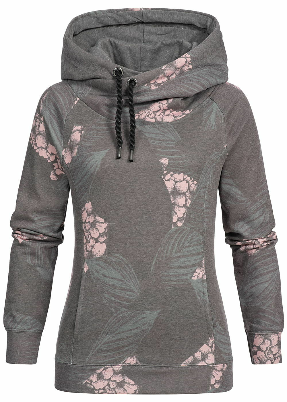 B19010221 Womens ONLY JUMPER HOODIE Floral Pattern Kalamata Olive Green