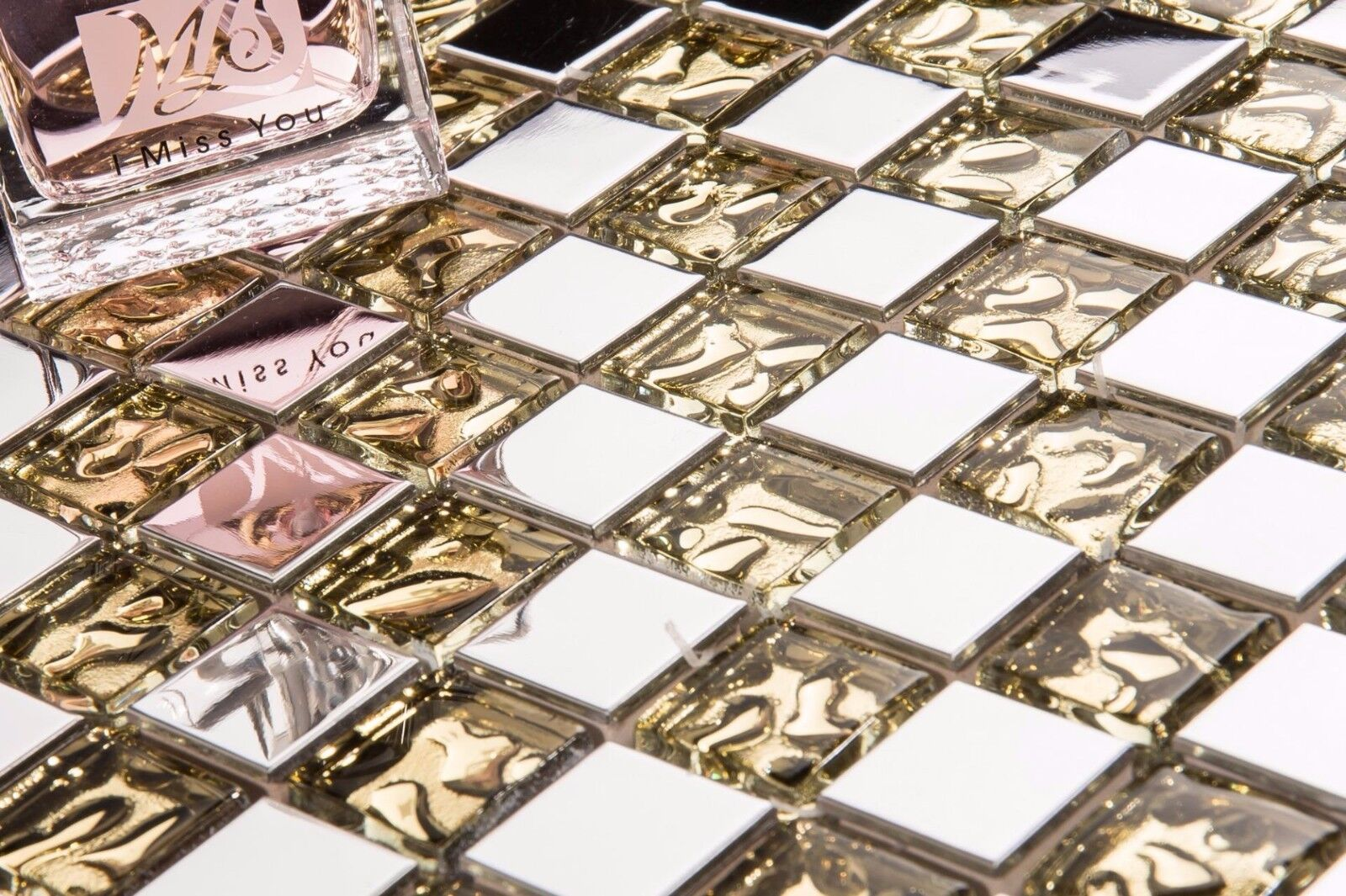 1 SQ M Polished Stainless Steel and Patterned Gold Glass Mosaic Tile Sheet 0157