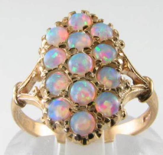 9K 9CT gold LONG AAA AUS OPAL 16 STONE ART DECO INS RING FREE RESIZE