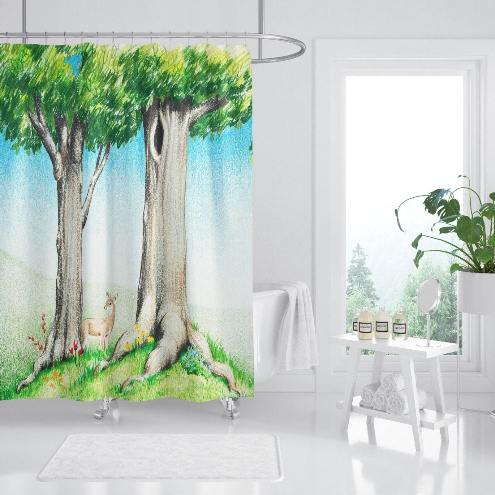 3D CKunstoon Tree 14 Shower Curtain Waterproof Fiber Bathroom Home Windows Toilet