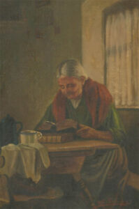 F. Benning - Early 20th Century Oil, Lady Reading