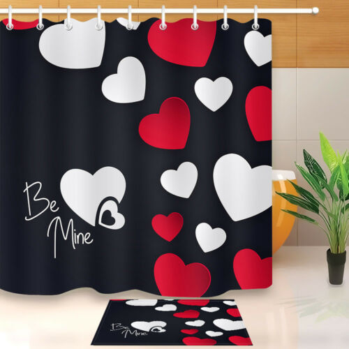 Happy Valentine/'s Day Shower Curtain Fabric Bathroom Waterproof /& Bath Mat 8478