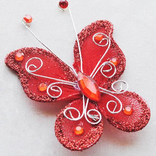 New10 un belleza artificial Medias Mariposa Decoración para Boda Fiesta De Navidad