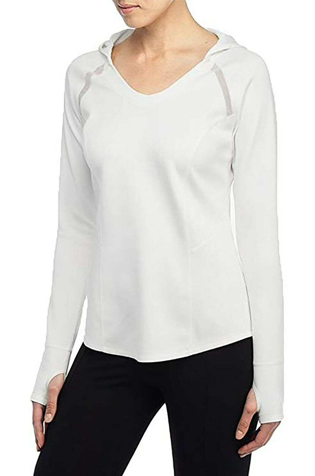 NYDJ Sport Womens White Long Sleeve Pullover Workout Stretch Hoodie Top Large NW
