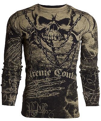 Xtreme Couture AFFLICTION Mens THERMAL T-Shirt KILLER Tattoo Biker UFC S-3XL $58