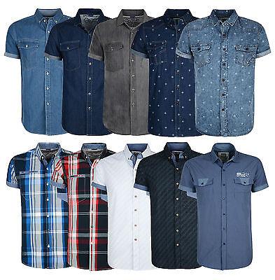 Smith & Jones Men's New Short Sleeve Shirts Denim Check Stripe Pattern Plain