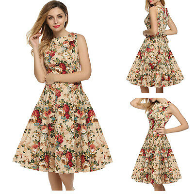 Women Vintage Retro 50s 60s Party Pinup Flared Pleated Swing Rockabilly Dress