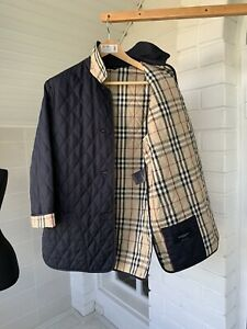 Women-039-s-Burberry-London-Blue-Nylon-Quilted-Coat-Jacket-Size-S