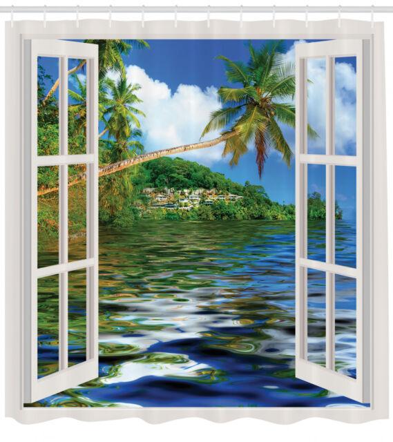 Ocean Beach Sunset Polyester Waterproof Bathroom Shower Curtain Mat Set Decor