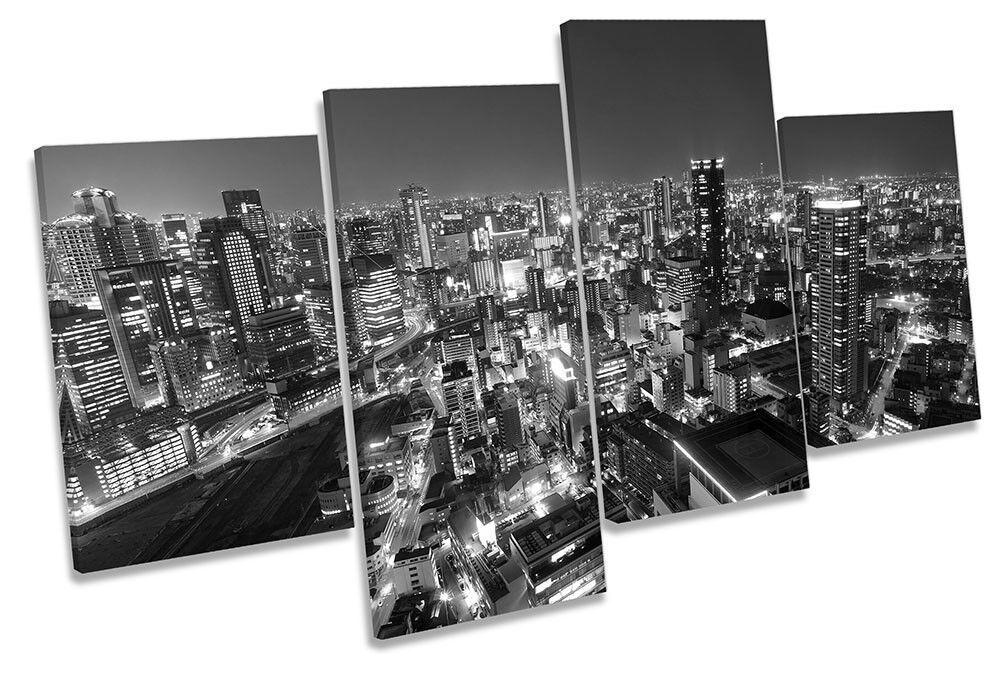 Osaka Japan Skyline B&W Picture MULTI CANVAS WALL ART Print