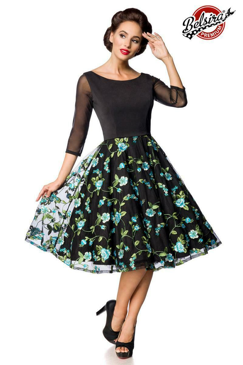 ATX 50127 50er Kleid Rockabilly Retro Vintage Premium Kleid schwarz blau Blaumen