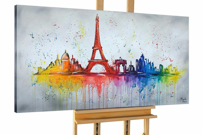 Acryl Gemälde 'EIFFELTURM VOLL PRACHT'   HANDGEMALT   Leinwand Bilder 140x70cm