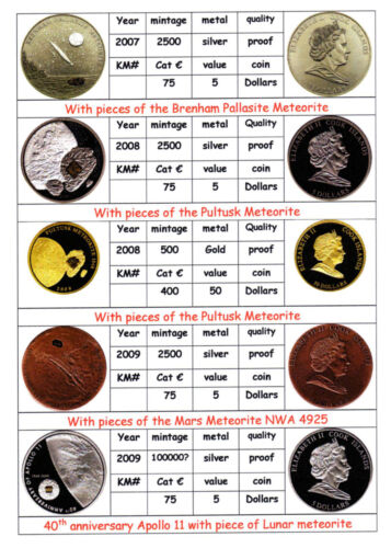 Catalogue Space related coins Apollo shuttle meteorite /& more 750 different coin