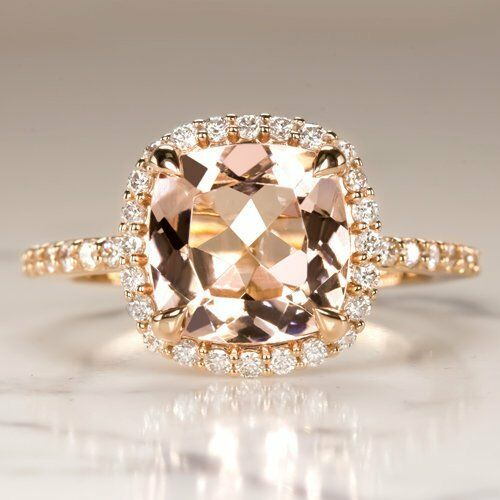 2.3Ct Cushion Cut Morganite Halo Solitaire Engagement Ring 18K pink gold Finish