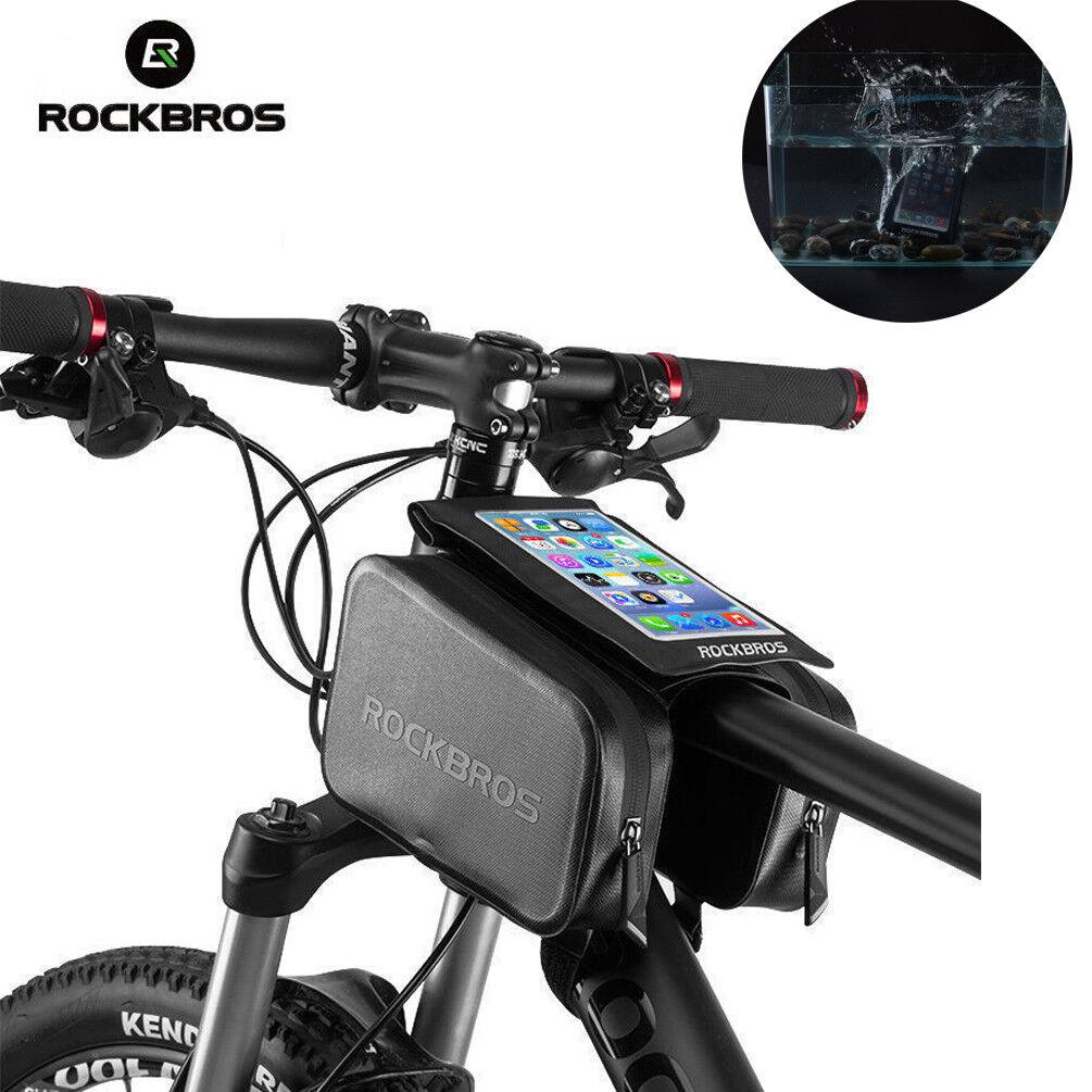 "ROCKBROS Waterproof Touch Screen Bike Bag Front Top Tube Frame 6.0/"" Phone Bag"